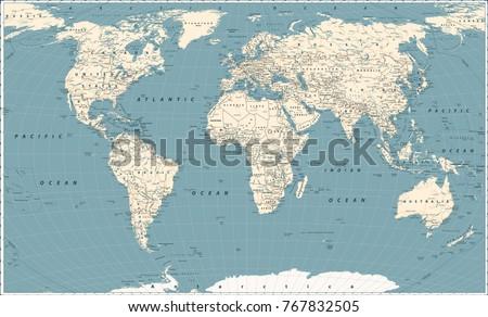 retro world map and main state