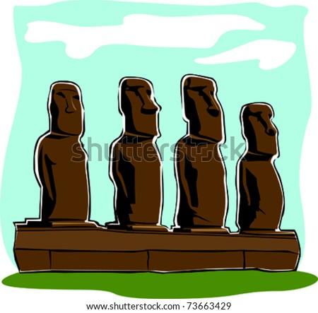 Retro World Wonder Easter Island Heads Vector Illustration