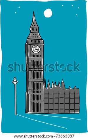 Retro World Wonder of London Big Ben Vector Illustration