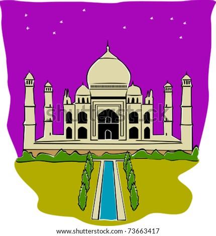 retro world wonder of taj mahal