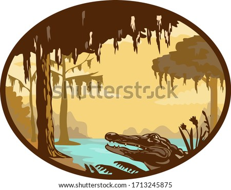 Retro wpa style illustration of a typical bayou, swamp or wetland found in the state of Louisiana and across the American southeast with alligator or gator set inside oval on isolated background.