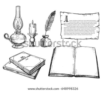 Retro writing accessories hand drawn set vector illustration. Candle in candlestick, kerosene lamp, feather pen with inkwell, old blank canvas, open notebook sketches isolated on white background.