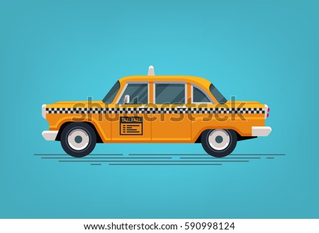 Retro yellow taxi cab. Classic taxicab icon. Vector flat style illustration.