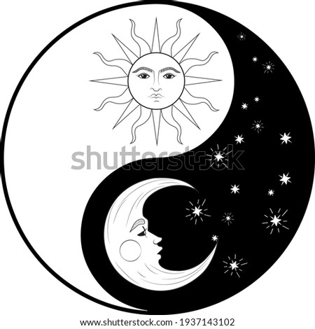 Retro ying yang print with sun and moon illustration for girl - woman tee t shirt or sticker Stock photo ©