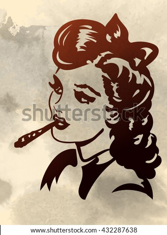 retro young woman smoking joint