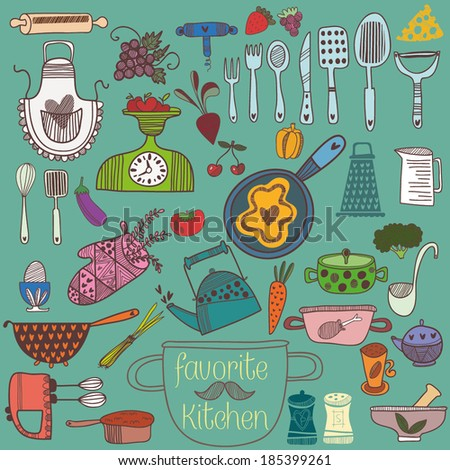retrocolorful set of kitchen