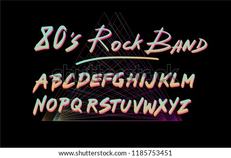 Retrofuturistic font inspired by 80's-90's rock band's logotypes and lettering. Neon glowing hand drawn letters on dark background.