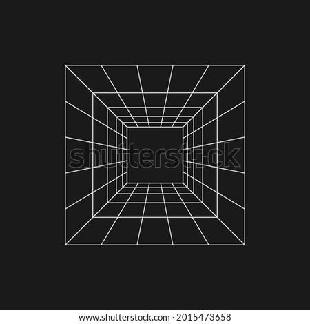 Retrofuturistic perspective grid tunnel. Digital cyber retro design element. Perspective tunnel in cyberpunk 80s style. Perspective for poster, cover, merch in retrowave style. Vector illustration.