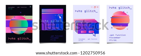 Retrofuturistic set of posters with holographic glitched elements (computer interface window, circle). Vaporwave/ synthwave/ retrowave style. stock photo