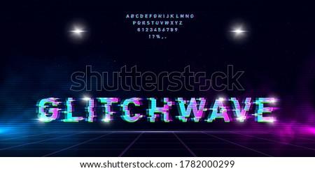 retrowave glitch font on