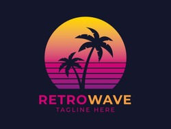 Retrowave palm logo