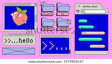Retrowave style desktop with message boxes, terminal console window and user interface elements. Retro OS in vaporwave 80's vintage stylization. Zdjęcia stock ©