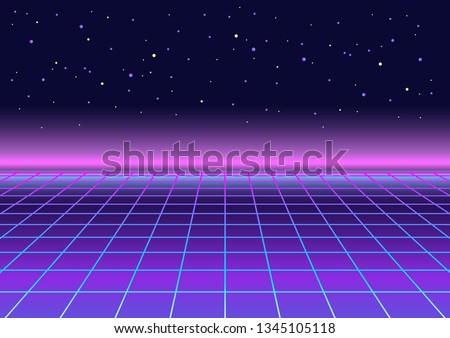 Retrowave, synthwave, rave, vapor party background. Light grid landscape. Yesterday's tomorrow. Retro, vintage 80s, 90s style. Black, purple, pink, blue colors. Banner, print, wallpaper, web template Foto d'archivio ©