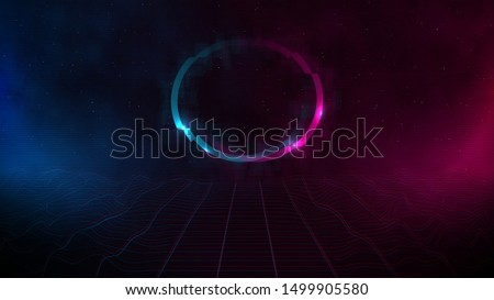 Retrowave / synthwave / vaporwave cyber landscape laser grid with glitch circle, pink and blue fog and glows on both sides in starry space. VHS effect. Vector. Eps 10