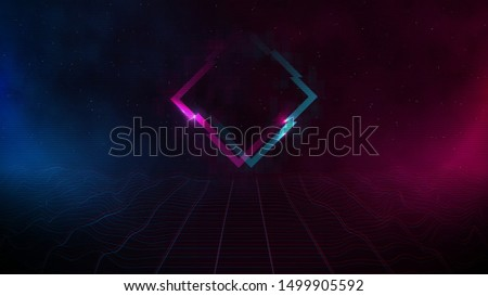 Retrowave / synthwave / vaporwave cyber landscape laser grid with glitch rhombus, pink and blue fog and glows on both sides in starry space. VHS effect. Vector. Eps 10
