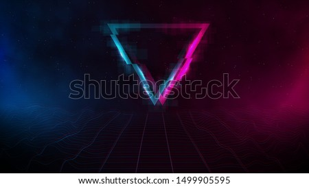 Retrowave / synthwave / vaporwave cyber landscape laser grid with glitch triangle, pink and blue fog and glows on both sides in starry space. VHS effect. Vector. Eps 10
