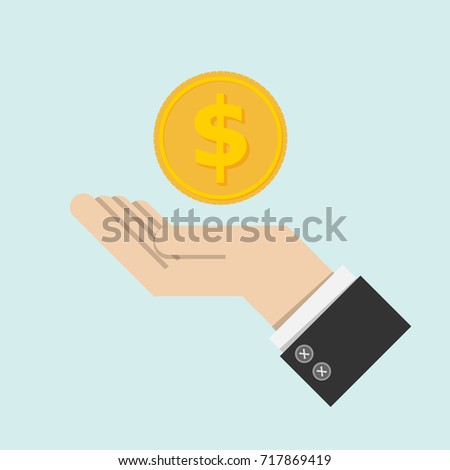 return of an investment concept. gold coin with sign of dollar currency on hand, palm of businessman. invest growth,finance plan, personal management, investment portfolio. vector illustration EPS10
