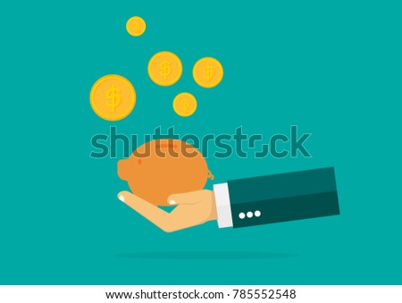 Return of an investment concept. gold coin with sign of dollar currency saving, Hand of businessman. invest growth,finance plan, personal management, investment portfolio. vector illustration EPS10