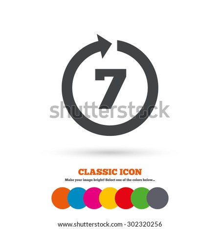 Return of goods within 7 days sign icon. Warranty exchange symbol. Classic flat icon. Colored circles. Vector Stock foto ©
