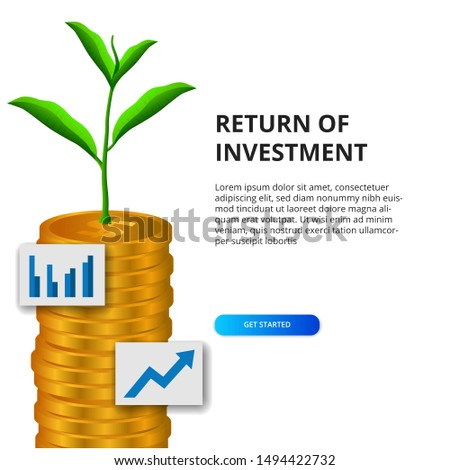 Return of Investment growth investing stock market golden coin dollar and plant tree grow and icon graph for business, finance
