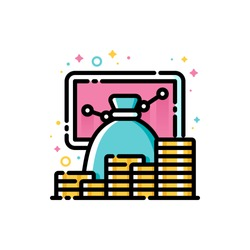 Return on investment chart, finance graph, budget planning and income growth concept. Flat filled outline style icon of money bag and stacks of coins. Pixel perfect. Editable stroke. Size 72x72 pixels