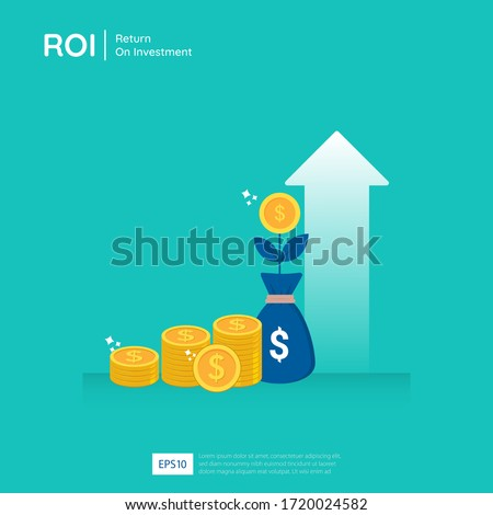 Return on investment design vector illustration. Profit opportunity concept. business growth arrows to success. arrow with dollar plant coins, graph and chart increase.  Foto stock ©