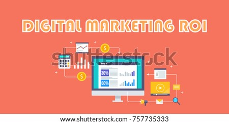 Return on investment, Digital marketing, ROI, Marketing analysis flat vector concept isolated on red background