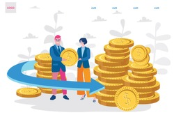Return on investment, income growth, long term investment, Vector illustration for web banner, infographics, mobile. savings account, finance consolidation, budget planning.