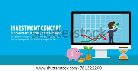 Return on investment, ROI, Business, profit,Businessman adjust an uptrend graph chart of financial growth.flat vector conceptual banner illustration with icons isolated on blue background