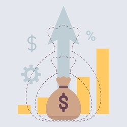 Return on Investment, ROI capital gains dividends symbol. Earn a passive income to build wealth chart, professional growth investing for great financial success. Vector flat style cartoon illustration