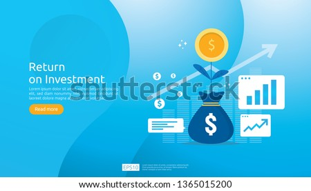 Return on investment ROI concept. business growth arrows to success. dollar plant coins, graph and money bag. chart increase profit. Finance stretching rising up. banner flat style vector illustration