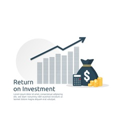 Return on investment ROI concept. business growth arrows to success. dollar stack pile coins and money bag. chart increase profit. Finance stretching rising up. banner flat style vector illustration.