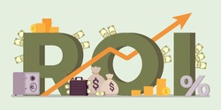 Return on Investment, ROI investors, businesses symbol. Ratio of profit giant letters, generating income, financial capital, gain of money growing success arrow. Vector flat style cartoon illustration