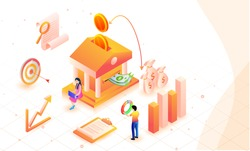 Return on investment (ROI) isometric background with bank, growth or profit graphs, money, document and miniature business people analysing the success of investment.