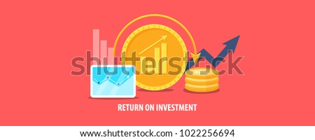 Return on Investment, ROI, Market and Finance, Business Growth vector illustration