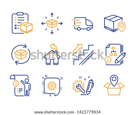 Return parcel, Algorithm and Stairs icons simple set. Manual doc, Parcel delivery and Truck delivery signs. Home, Cogwheel and Engineering symbols. Package location. Line return parcel icon. Vector
