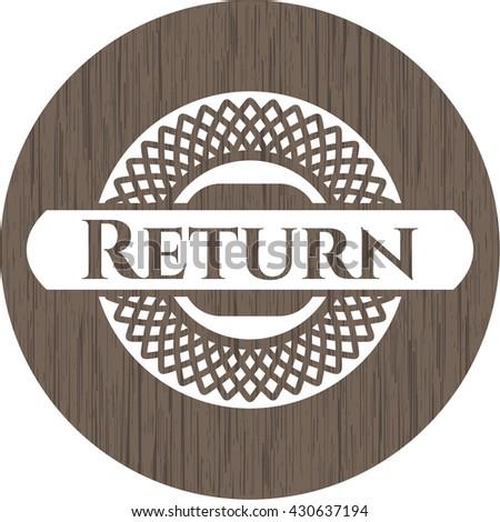 Return retro style wood emblem