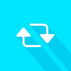 Retweet EPS, twitter sign, tweet icon, twt, tweety vector, tweeter flat image, social media tool, blue background, material design