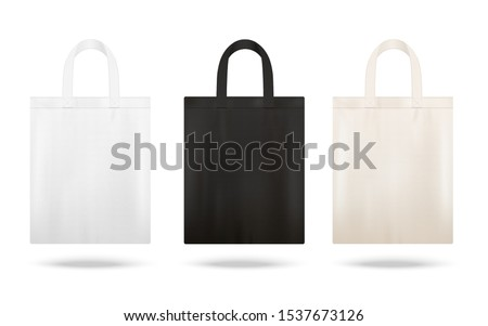 Reusable shopping tote bag mockup set with different fabric colors - white, black and beige bags with blank copy space isolated on white background - vector illustration.
