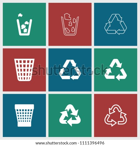 Reuse icon. collection of 9 reuse filled and outline icons such as trash bin. editable reuse icons for web and mobile.
