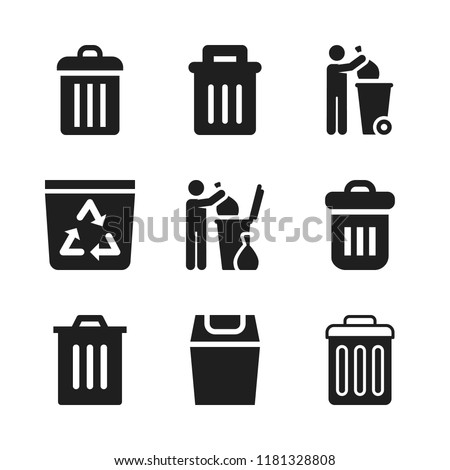 reuse icon. 9 reuse vector icons set. garbage, recycle bin and garbage can icons for web and design about reuse theme