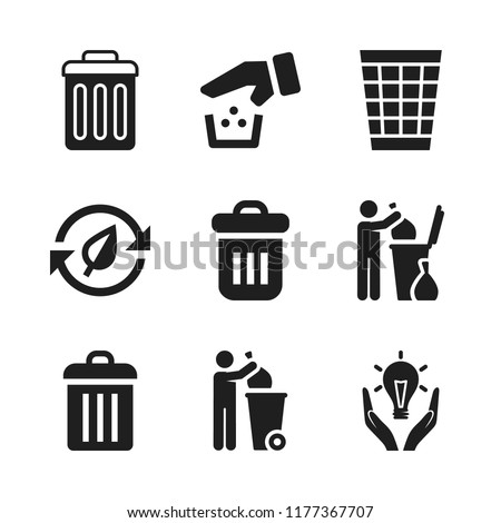reuse icon. 9 reuse vector icons set. responsible energy use, trash bin and garbage icons for web and design about reuse theme