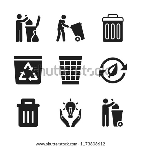 reuse icon. 9 reuse vector icons set. trash bin, trash and recycle bin icons for web and design about reuse theme