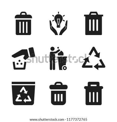 reuse icon. 9 reuse vector icons set. trash, garbage and recycle bin icons for web and design about reuse theme