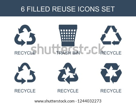 reuse icons. Set of 6 filled reuse icons included recycle, trash bin on white background. Editable reuse icons for web, mobile and infographics.
