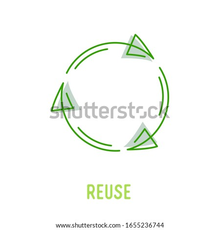 Reuse Sign with Green Rotate Arrows in Linear Style Isolated on White Background. Garbage Recycling and Reusing Icon, Ecology Conservation, Sustainability, Conscious Litter Renew Vector Illustration Stockfoto ©