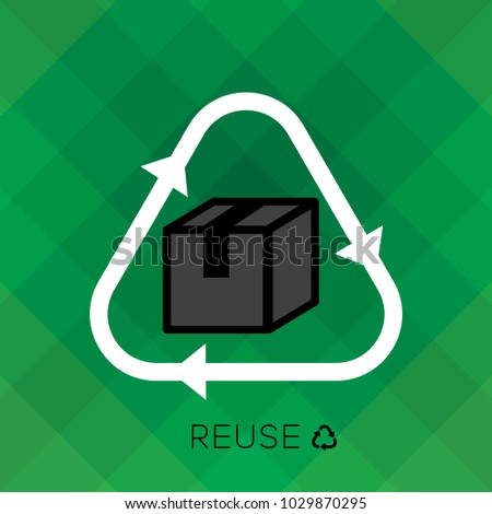 Reuse sign with paper box icon and 'reuse' word is remind people to reuse using plastic bottle for a good environmental, eco friendly system. reduce, reuse, recycle set.