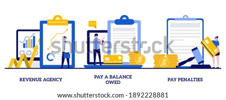 Revenue agency, pay a balance owed, pay penalties concept with tiny people. Fine and surcharge repayment abstract vector illustration set. Tax office visiting, debt paying metaphors.