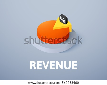 Revenue icon, vector symbol in flat isometric style isolated on color background