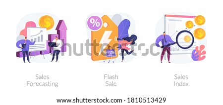 Revenue management abstract concept vector illustration set. Sales forcasting and index, flash sale, special offer, e-commerce shop promotion, profit analysis, retail income abstract metaphor.
